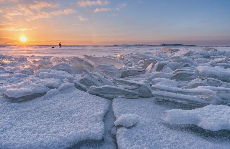 санкт-петербург, торосы, море, финский, залив, путешествия, пейзаж, зима, рассвет Антарктида под Питеромphoto preview