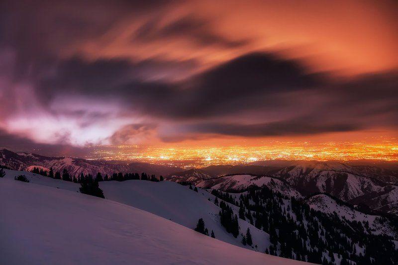 алматы, горы, зима, кимасар, ночь, облака, пурга, шторм Наступление штормаphoto preview