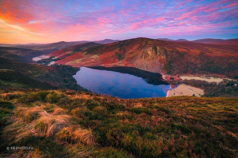 ireland, landscape, sunrise, sky, mountains, wicklow, lake, lough tay, nature, colors,  Lough Tay - Irelandphoto preview