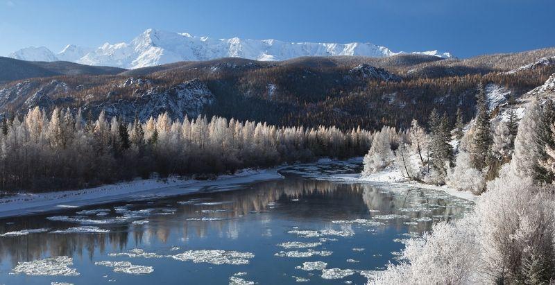 Горный Алтай, Чуя, иней, серебро, шуга Чуя в серебреphoto preview
