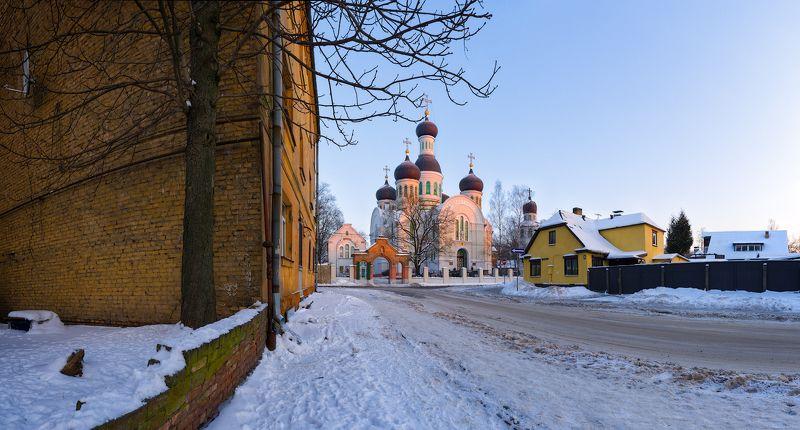 панорама, город, пейзаж, зима, мороз, рига, латвия Морозное утро. Церковь Иоанна Предтечиphoto preview