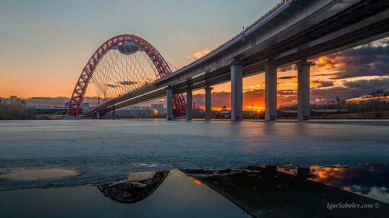 вечер, живописный мост, москва, россия, зима Зимний вечер у Живописного мостаphoto preview
