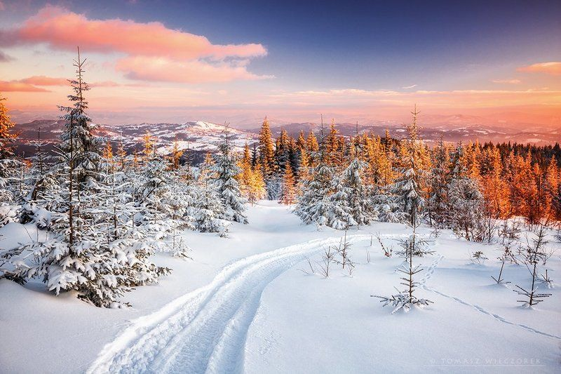 frozen, winter, snow, light, sunset, poland, mountains, route, orange Colors of sunsetphoto preview
