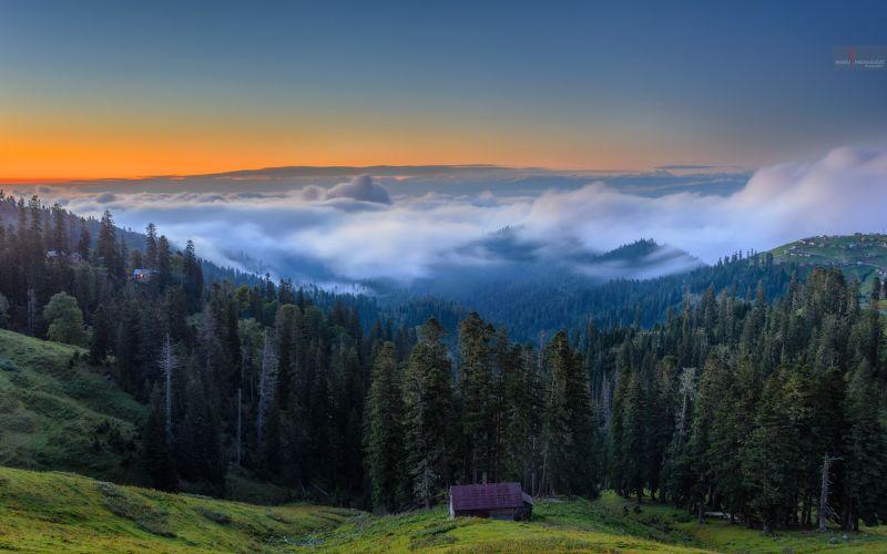 пейзаж, закат, небо, лес, облака, гурия, грузия, бахмаро, деревня, горы Над облакамиphoto preview