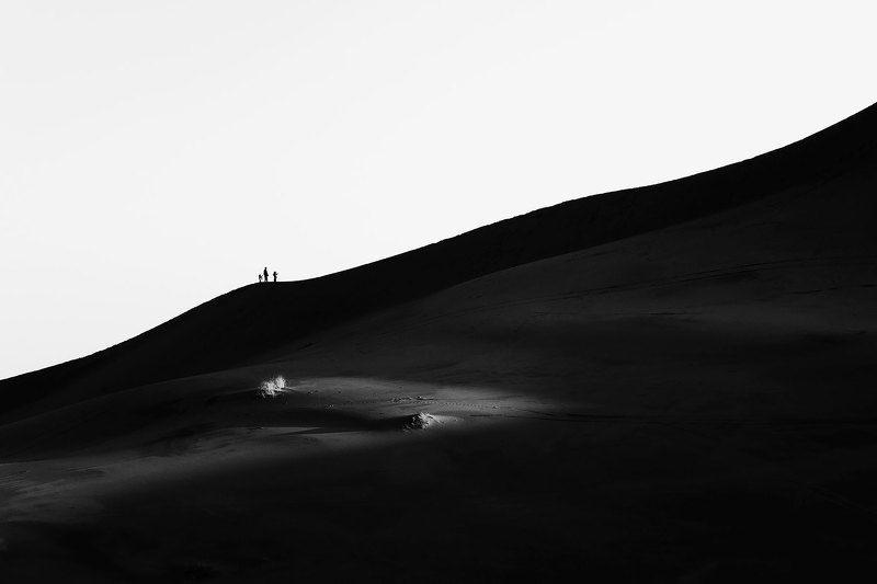 путешествие, природа, пустыня, сахара, африка, марокко, черно-белое, силуэт Рассвет в пустынеphoto preview
