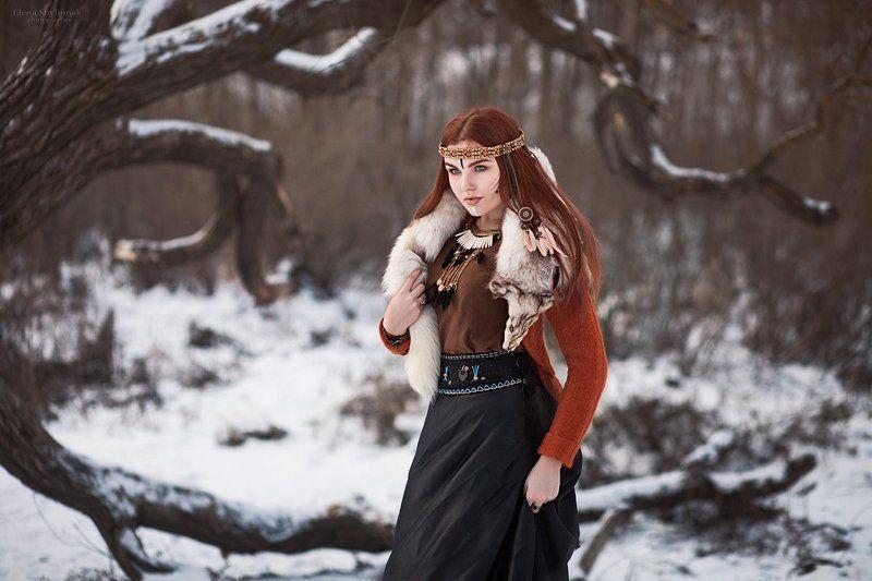 мех, снег, зима, дерево, колдунья, перья, рыжая, модель Nortphoto preview