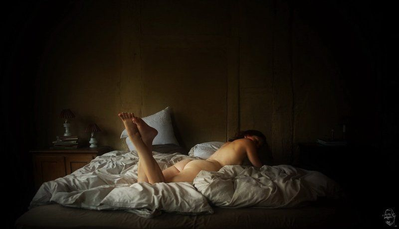 girl, nude, bed, Im Bett (In bed)photo preview