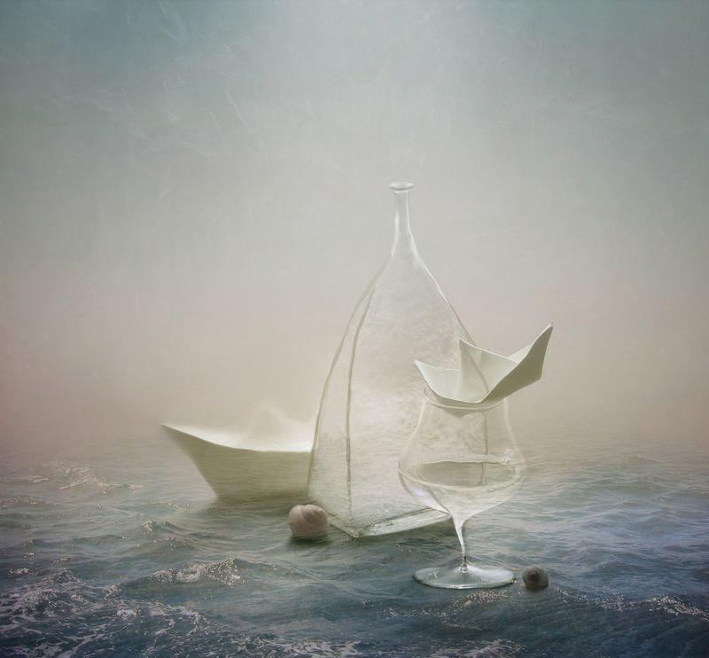 кораблики, море, бокал, вода, ракушки, бутылка, природа, арт, натюрморт photo preview