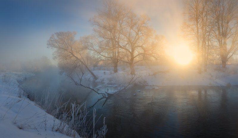 утро, туман, рассвет, пейзаж, зима, мороз, река, истра, холод, иней, фото, пейзажное фото Туманным утромphoto preview