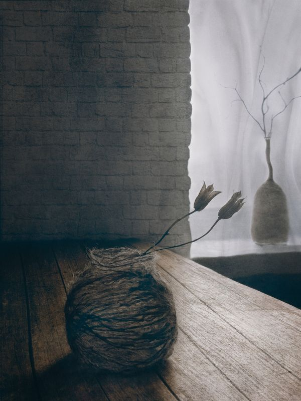 цветок, ваза, нитки, стена, стол, бутылка, ветка, зима, натюрморт, арт, дизайн, интерьер photo preview