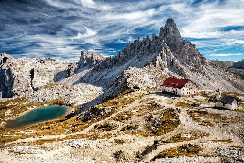 monte paterno, dolomities, dolomiti, italy, italia, mountains, alps, autumn, lake, shelter Monte Paternophoto preview