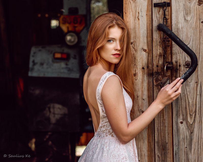 girl, female, pretty, portrait, redhead Farm girlphoto preview