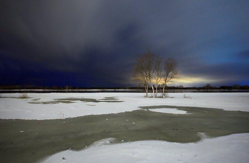 calmness, winter evening, winter night, frozen river, belarus, landscape, long exposure, snow, тишина, зимний вечер, ночная фотография, беларусь, пейзаж, снег, зима, река, лёд Безмолвие зимнего вечераphoto preview