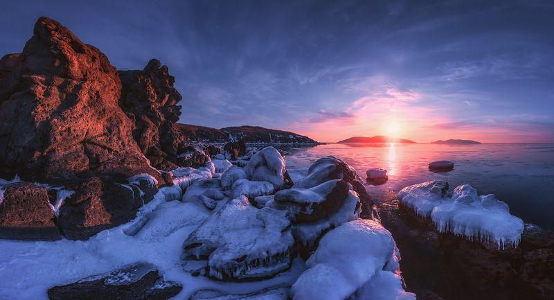панорама, утро, зима, море, скалы ***photo preview