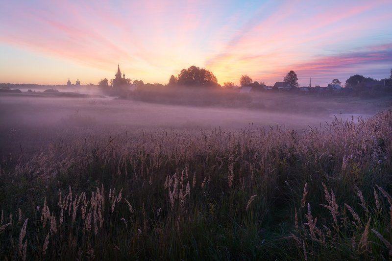 утро, рассвет, туман, пейзаж, пейзажное фото, россия, ивановская область, дунилово, средняя полоса, церкви, рассветное Утро в Дуниловоphoto preview
