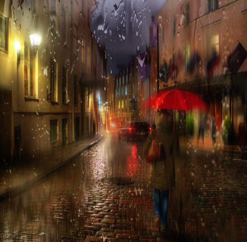 таллин дождь в старом городе...photo preview