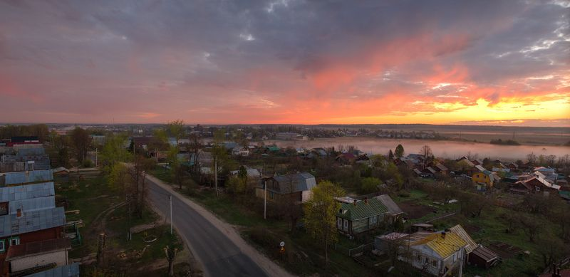 рассвет, деревня, ивановская область,  Пылающий рассветphoto preview