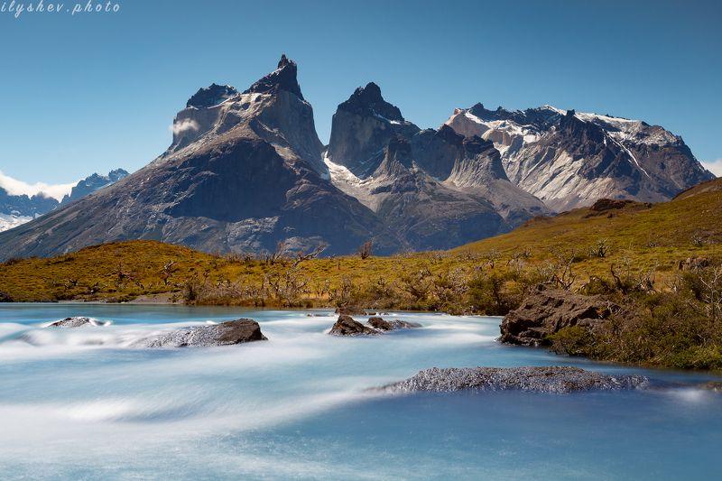 природа, пейзаж, река, горы, торрес дель пане, чили, патагония, южная америка, парк истинный бирюзовыйphoto preview