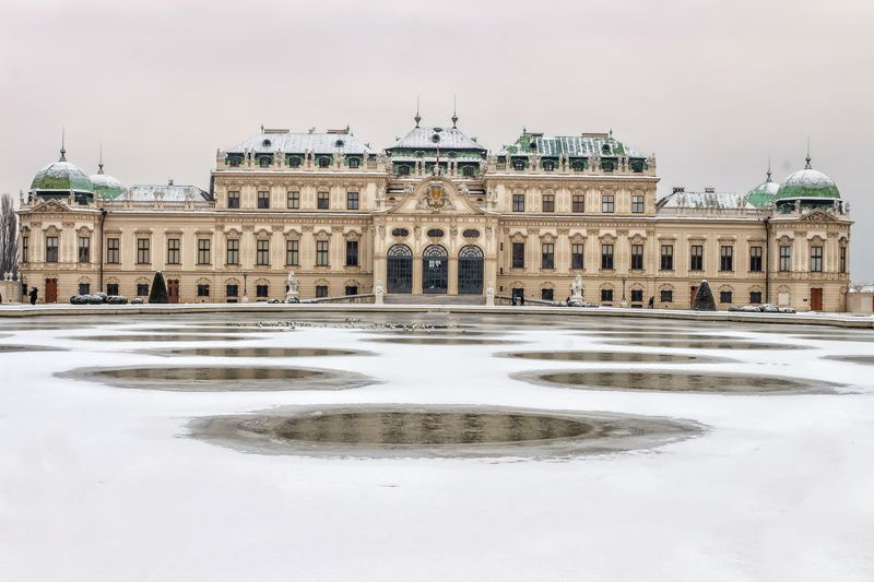 belvedere, palace, vienna, austria, winter, historical place, Frozen Mirrorphoto preview
