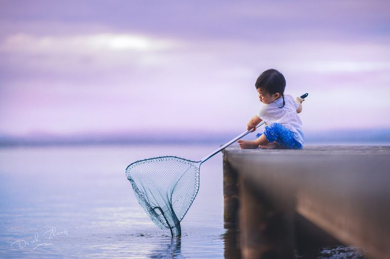 child, cute, sunset, lakeside, kid, moment, natural, light the little fishermanphoto preview