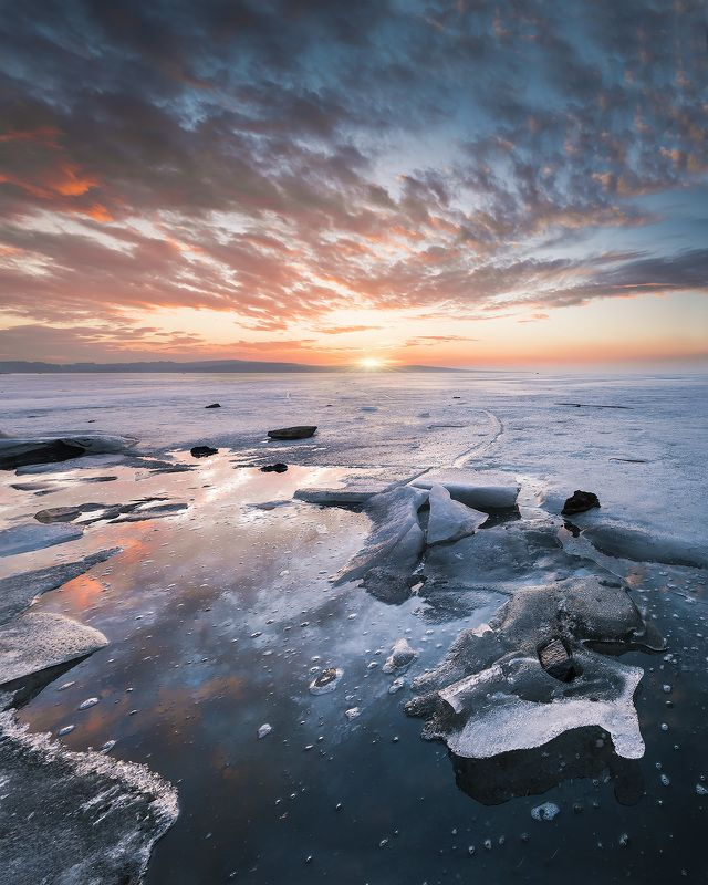 sunset, winter, ice, lake, water, sky, nature, landscape Fire and icephoto preview
