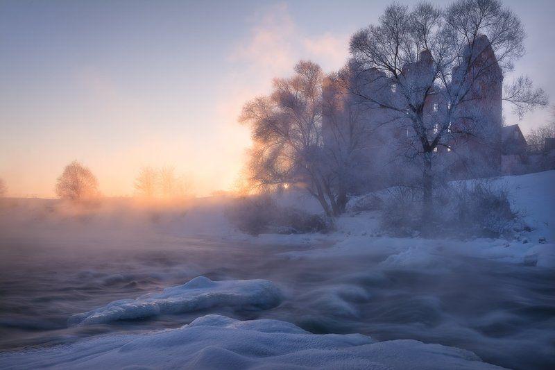 утро, рассвет, испарение, туман, вода, река, пейзаж, пейзажное фото, мороз, зима, фототуры выходного дня, пейзажная фотография, юрятинская мельница, мельница, московская область, nikon, sigma, никон Зимнее утро у мельницыphoto preview