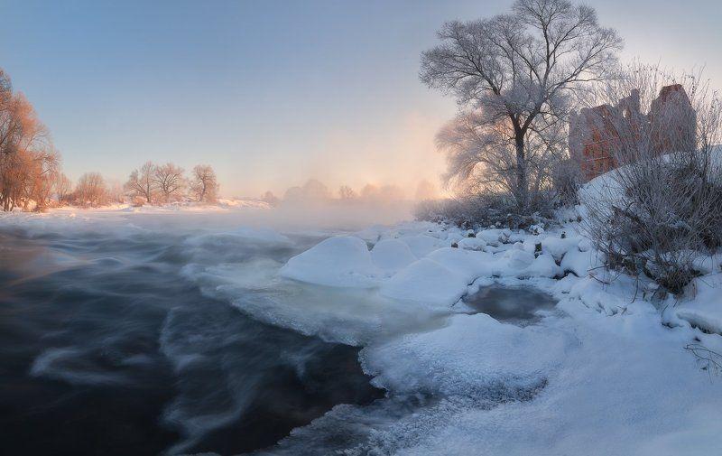рассвет, зима, панорама, река, вода, мороз, зима, лед, пар, иней, пейзаж, пейзажное фото, фототуры выходного дня, путешествия, landscape, winter, nikon Зимнее утро на берегу Протвыphoto preview