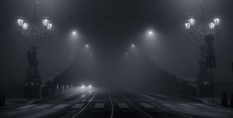 город Будапешт ночь туман архитектура мост городской пейзаж Misty riderphoto preview