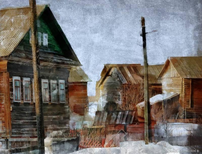 пейзаж зима музыка старые дома. деревня Сапушкиноphoto preview