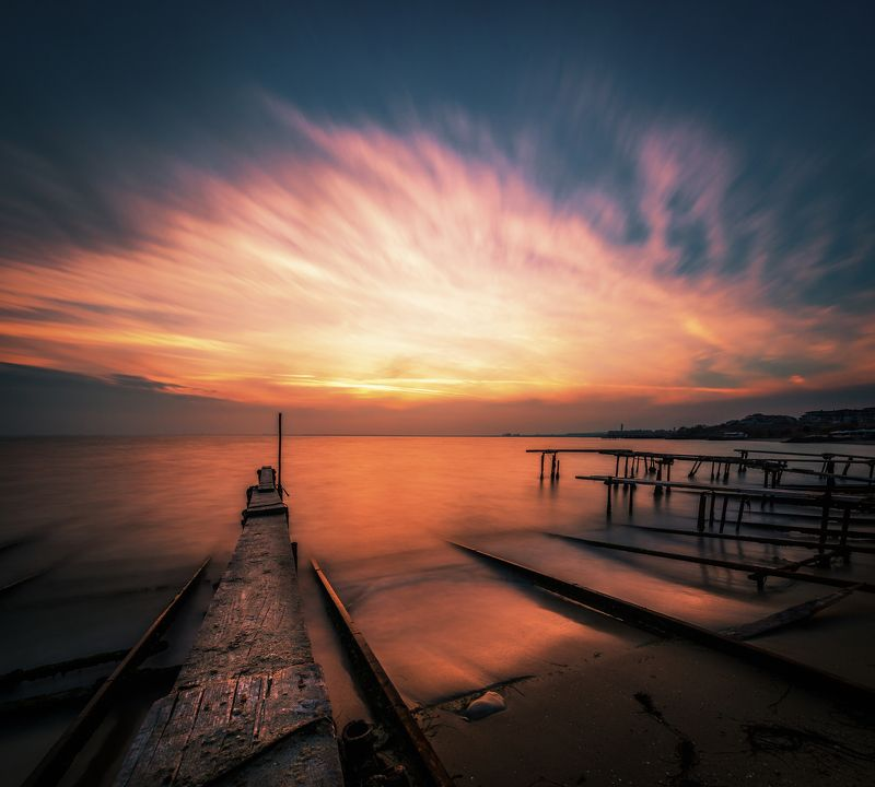 sunset, nature, sea, water, landscape, pier, clouds, long exposure Sunset in Novemberphoto preview