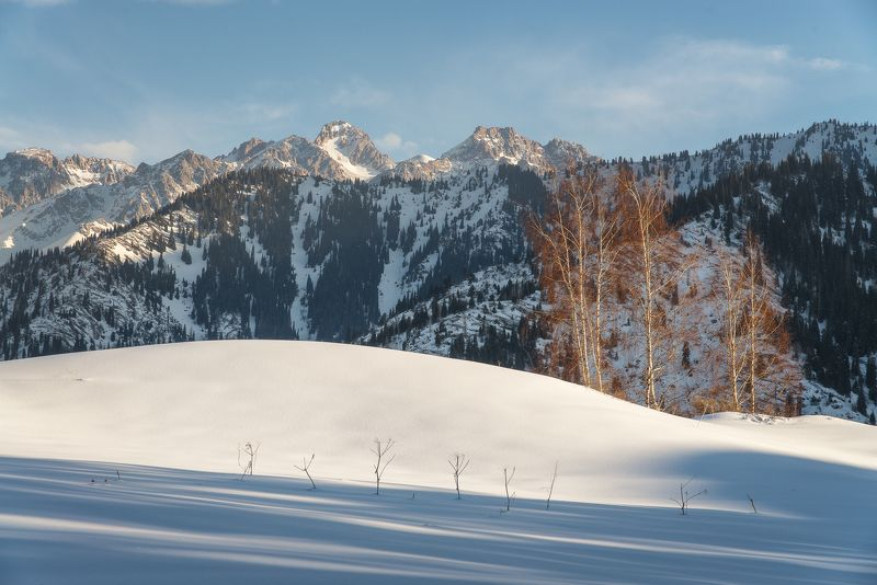Комсомол, горы, казахстан Среднегорье зимой.photo preview