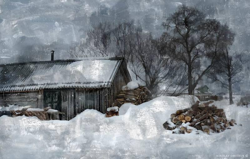 пейзаж зима музыка февраль. баня. деревня. 2017photo preview