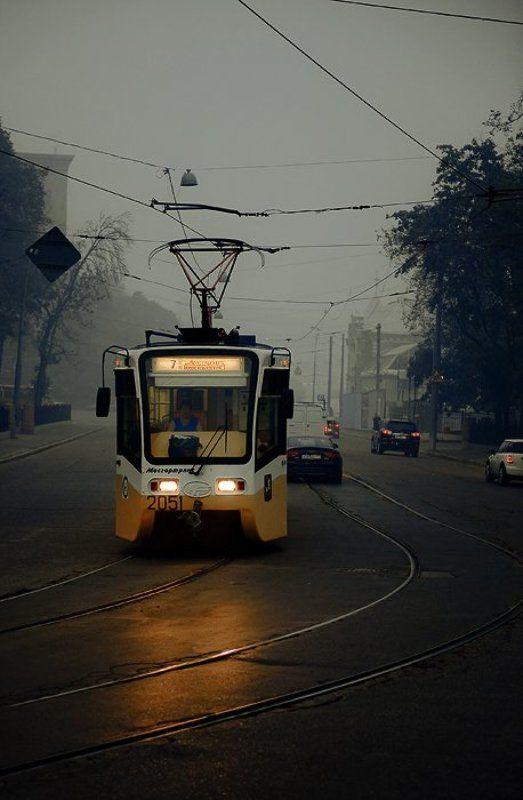 город, трамвай, смок, дым, рельсы, улица, москва, жара Ночной смокphoto preview