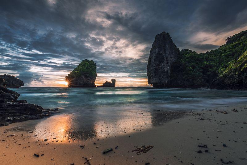 sunset, sand, beach, island, Thailand, octopus Nui beachphoto preview