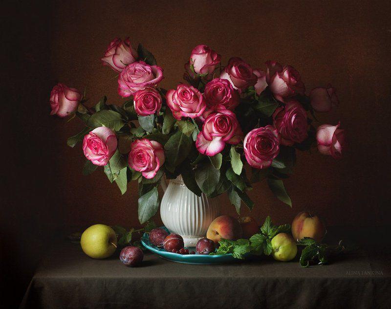 натюрморт, розы, букет, цветы, фрукты, лето ***photo preview