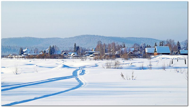пейзаж, зима, утро, дома, снег Морозное утро! photo preview
