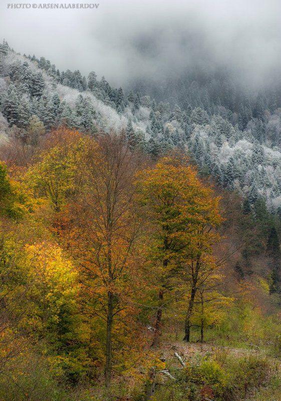 горы, предгорья, хребет, вершины, пики, снег, осень, зима, скалы, холмы, долина, облака, путешествия, туризм, карачаево-черкесия, кабардино-балкария, северный кавказз , закат, свет, лучи НА СТЫКЕ ВРЕМЁН ГОДАphoto preview