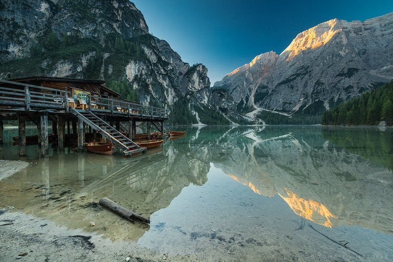 dolomiti, dolomities, italy, italia, lago, braies, lago di braies, summer, reflection, sunrise, light Reflectionphoto preview
