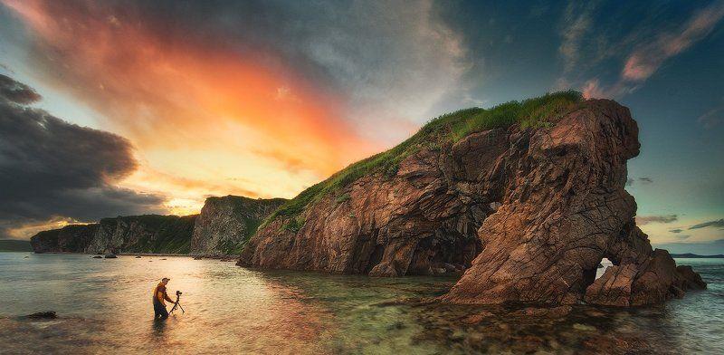приморский край, море, солнце, рассвет, море, побережье бэкстейджphoto preview