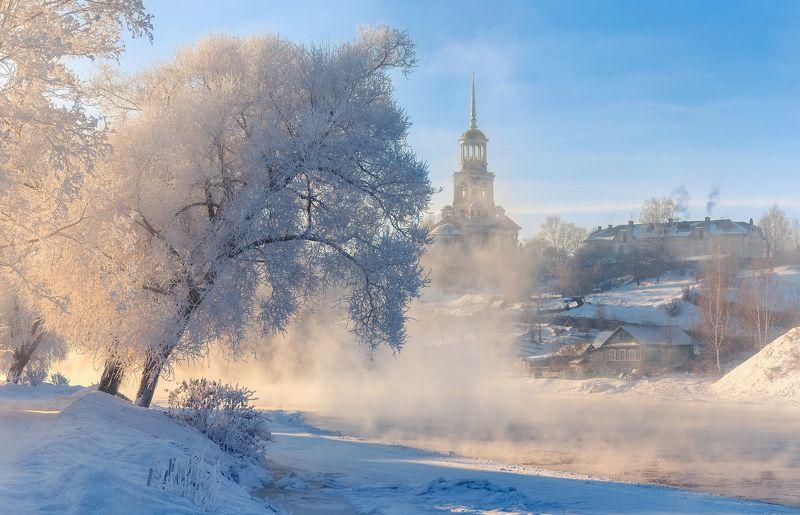 Торжок иней Тверская обл Россия зима пар туман рассвет Про иней в Торжкеphoto preview
