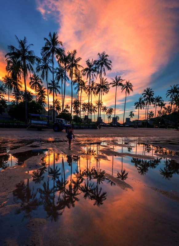 sunset, thailand, phi-phi, water, landscape, clouds *photo preview