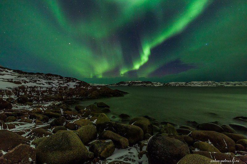 териберка, северное сияние, север, ночь, звезды Аврораphoto preview