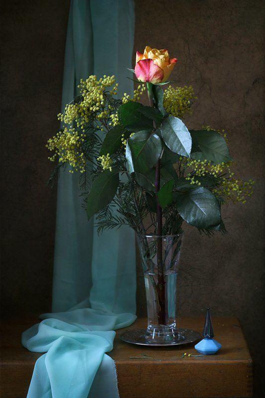 натюрморт, цветы, роза, мимоза Роза и мимозаphoto preview