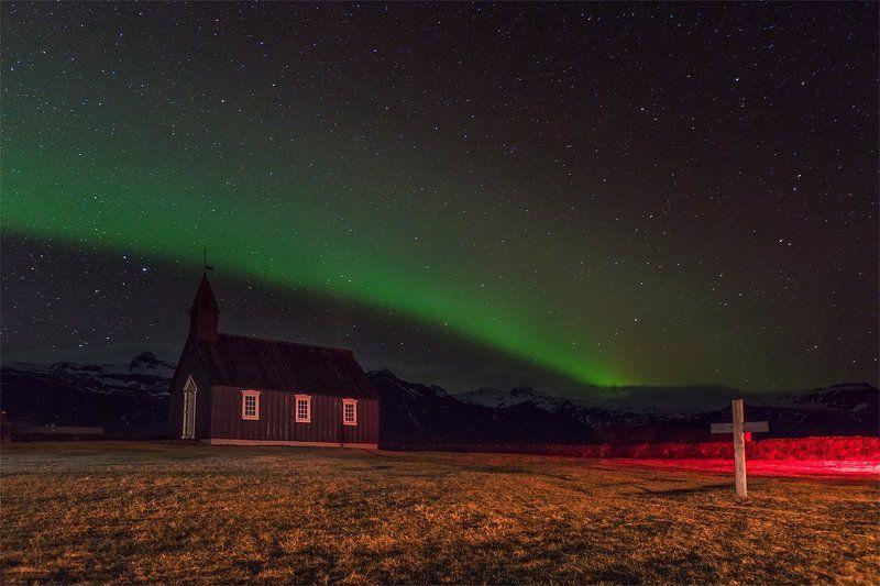 iceland Iceland\'17 Budir church + Northern lightphoto preview