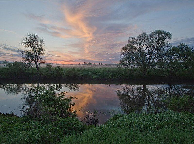 утро туман река упа першино Четыре дощечкиphoto preview