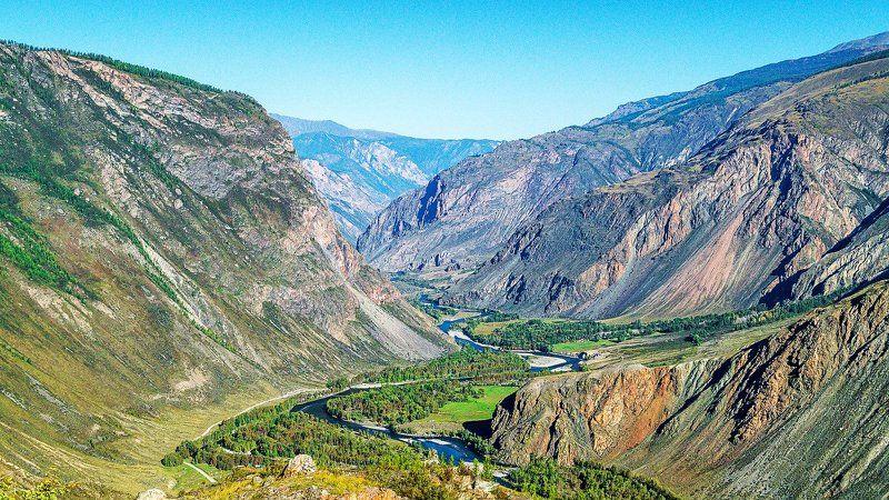 пейзаж, горы, рассвет, река, Горный Алтай Долина р.Чулышман.photo preview
