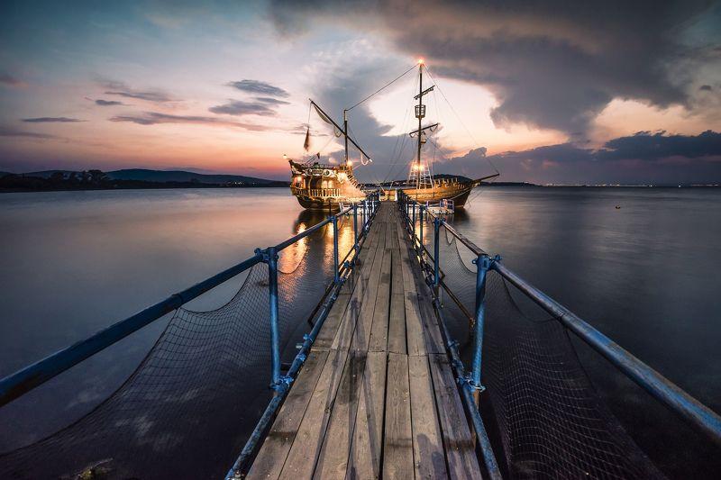 sunset, ship, love, summer, mood, landscape, sea, water Love shipphoto preview
