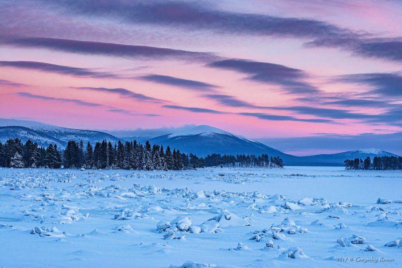 кольский, север,заполярье, лувеньга,зима, вечер Лувеньгаphoto preview