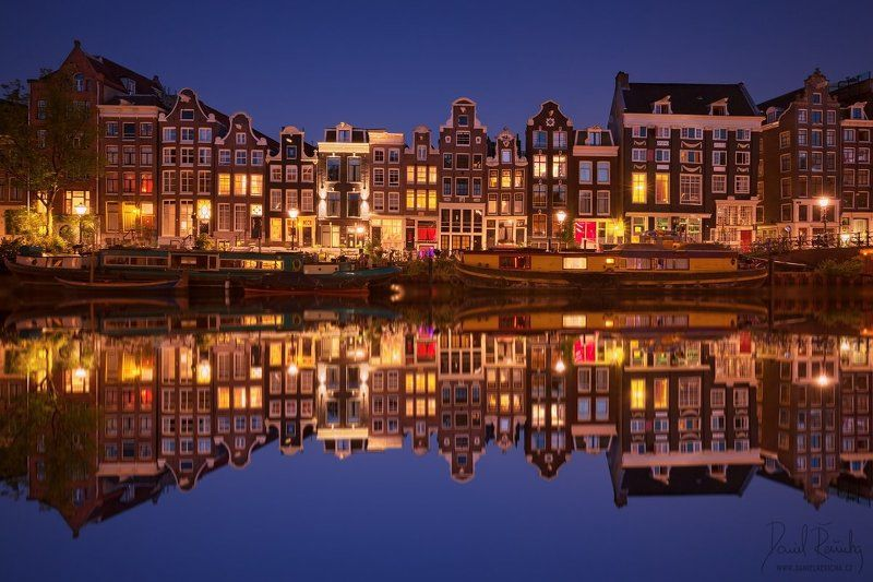 Netherlands, Nederland, Niederlande, Holland, North Holland, Holanda, Amsterdam, Amsterdam icon, Europe, city, beautiful city, night city, ships, boat, old houses, houses, reflection, reflection, blue, blue sky, sky, colorful, blue hour, sunset, canals, c Evening in Amsterdamphoto preview