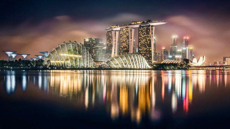 сингапур, город, городской пейзаж, ночь, отражение Верблюдphoto preview